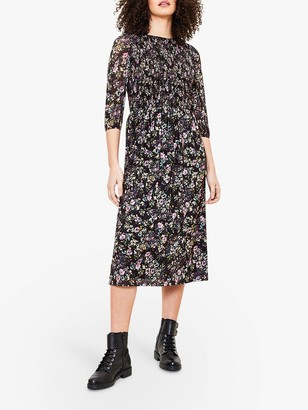 Oasis Smocked Floral Print Midi Dress, Blue/Multi