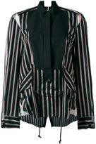 Sacai pin stripe tuxedo bib shirt - women - Silk/Cotton/Cupro - 1