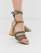 Asos Design DESIGN Hazel rope tie heeled sandals in multi stripe