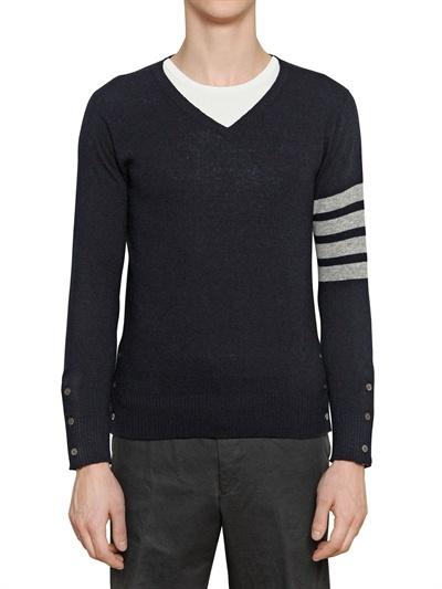 Thom Browne V Neck Wool Sweater