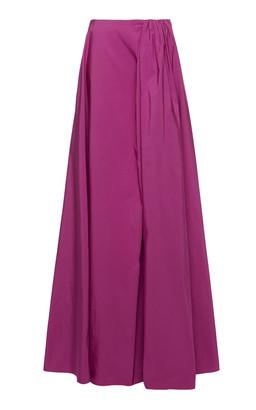 Valentino Pleated Cotton-Blend Faille Maxi Skirt