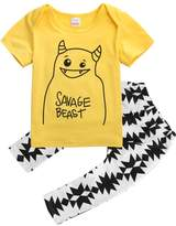 Magical Baby Baby Boys Letters Monster Short Sleeve T-shirt and Graphics Pants Outfit (6-12M)