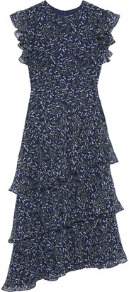 Mikael Aghal Asymmetric Tiered Floral-print Chiffon Midi Dress