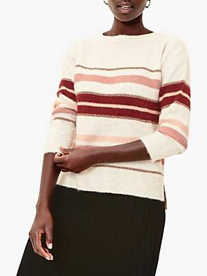 Oasis Lilly Sparkle Stripe Jumper, Neutral/Multi