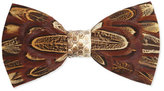 Brackish Bowties Pheasant-Feather Bow Tie, Brown
