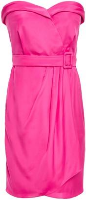 Moschino Belted Wrap-effect Satin Mini Dress