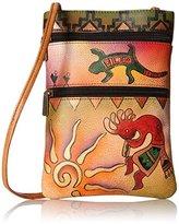 Anuschka Handpainted Leather Mini Double Zip Travel Spirit of the Southwest