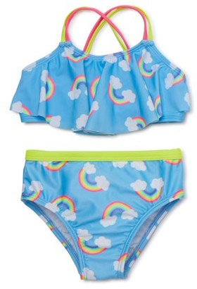 Wonder Nation Baby and Toddler Girls Rainbow Bikini, 2-Piece Swimsuit Set