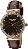 Akribos XXIV Women's AK829RGBR Quartz Movement Watch with Dark Brown Dial and Brown Leather Strap