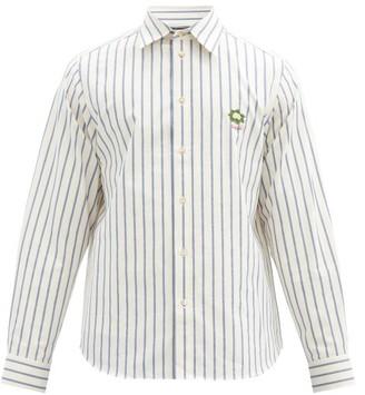 Gucci Logo-embroidered Striped Cotton Shirt - White