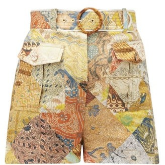 Zimmermann Brightside Patchwork-print Linen Shorts - Green Print
