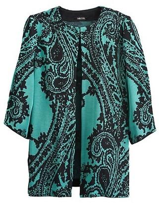 Misook, Plus Size Puff-Sleeve Paisley Knit Jacket