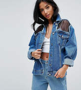 Chorus Petite Mesh Panelled Oversized Denim Jacket
