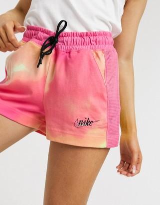 Nike Mesh Watermelon tie dye shorts in pink