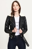 Dynamite Moto Jacket With Faux Shearling Collar