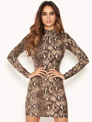 AX Paris Petite Grey Snake Print Bodycon Dress