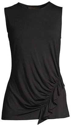 Donna Karan Sleeveless Drape-Detail Jersey Top