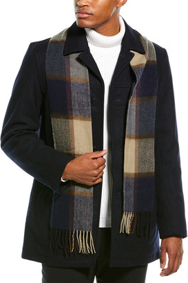 Tommy Hilfiger Wool-Blend Walking Coat With Scarf