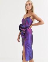 Asos Design DESIGN Premium diamante trim manipulated ruffle two tone midi dress