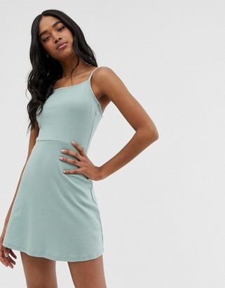 Asos Design DESIGN mini square neck sundress in rib-Green