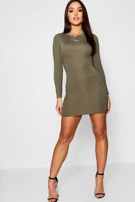 boohoo Ribbed Basic Long Sleeve Bodycon Dress
