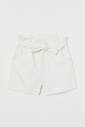 H&M Denim Paper-bag Shorts - White