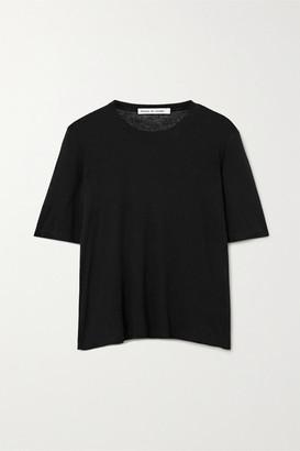 FRANCES DE LOURDES Martin Slub Modal And Silk-blend T-shirt - Black