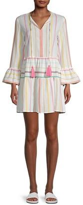 Pilyq Morgan Stripe Bell-Sleeve Cotton Dress