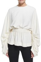 SOLACE London Macy Gathered Long-Sleeve Top, Cream