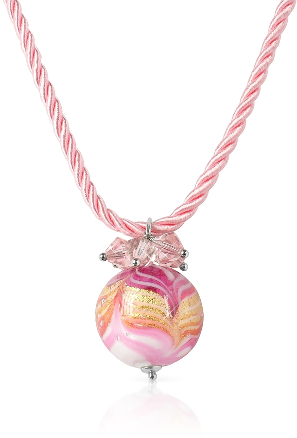 Murano House of Mare - Pink Glass Ball Pendant Necklace