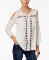 Style&Co. Style & Co Embroidered Cold-Shoulder Top, Only at Macy's