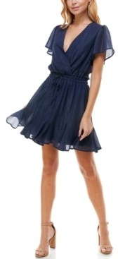Trixxi Juniors' Surplice Fit & Flare Dress