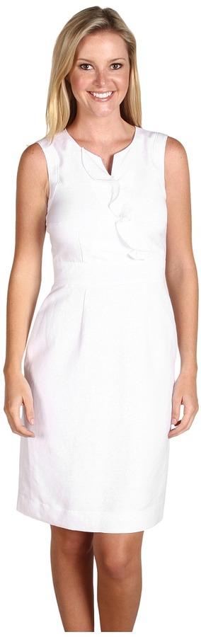 Tahari by Arthur S. Levine Tahari by ASL - Salliann Linen Ruffle Neckline Sleeveless Dress (White) - Apparel