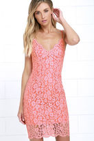 Picture of Perfection Coral Pink Lace Dress