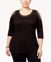 Belldini Plus Size Embellished Cold-Shoulder Top
