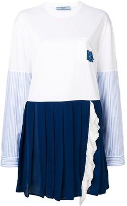 Prada Shirt Sleeve Panelled Dress