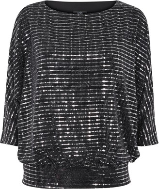 Wallis **TALL Black Sequin Banded Top