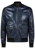 Boglioli Patch Pocket Leather Bomber Jacket
