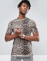 Reclaimed Vintage Leopard T-Shirt With Cold Shoulder