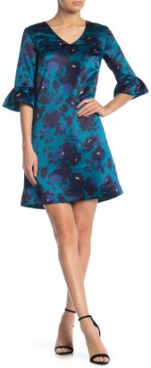 Draper James Floral Ruffle Sleeve A-Line Satin Dress