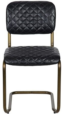 Noir Tufted Leather Upholstered Side Chair in Bronze