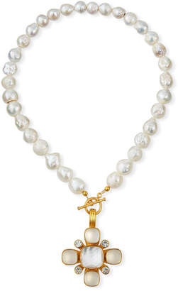 Dina Mackney Baroque Pearl & Mixed Pendant Necklace