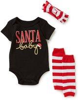Baby Starters Baby Girls 3-12 Months Christmas Santa Baby Bodysuit, Leg Warmers, & Bow Layette Set