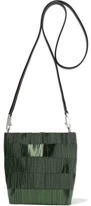 Rick Owens Small Adri Leather-trimmed Beaded Canvas Shoulder Bag