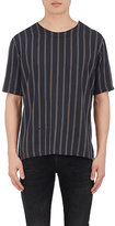 Robert Geller MEN'S STRIPED COTTON-BLEND SHORT-SLEEVE TOP