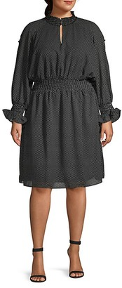 Rachel Roy Plus Dot-Print Knee-Length Dress