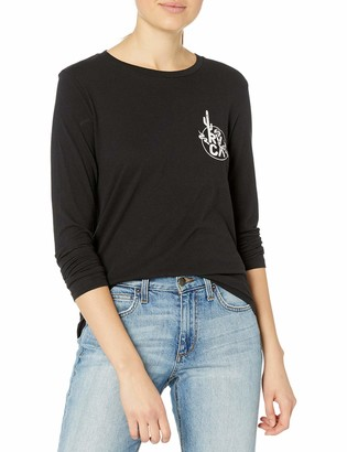 RVCA Junior's Death Valley Long Sleeve Crew Neck T-Shirt