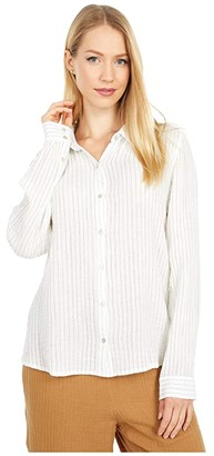 Eileen Fisher Classic Collar Shirt (White) Women's Clothing