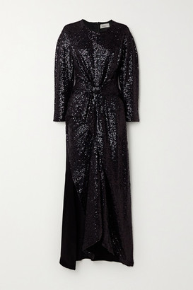 Preen by Thornton Bregazzi Loena Knotted Sequined Tulle And Silk-satin Maxi Dress - Black
