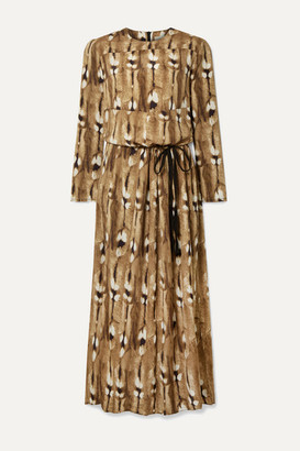 By Malene Birger Alhena Printed Crepe Maxi Dress - Light brown